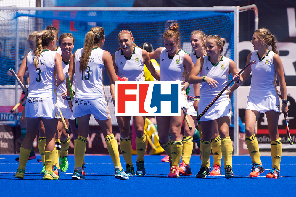 RIO 2016 Olympic qualification, Hockey, Women, match for 7th place, South Africa vs Ireland : team South Africa celebrates the fourth goal