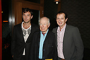 Jude Law, Peter Brook and David Lan, - the architect. Young Vic Official opening  following extensive two-year refurbishmen. The Cut. London. 20 October 2006. -DO NOT ARCHIVE-© Copyright Photograph by Dafydd Jones 66 Stockwell Park Rd. London SW9 0DA Tel 020 7733 0108 www.dafjones.com