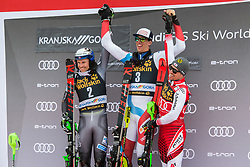 Winner ZENHAEUSERN Ramon of Switzerland, KRISTOFFERSEN Henrik of Norway and HIRSCHER Marcel of Austria celebrate during the Audi FIS Alpine Ski World Cup Men's Slalom 58th Vitranc Cup 2019 on March 10, 2019 in Podkoren, Kranjska Gora, Slovenia. Photo by Matic Ritonja / Sportida