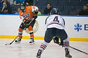 RIT forward Josh Mitchell looks up ice during the Atlantic Hockey final against Robert Morris University at the Blue Cross Arena in Rochester on Saturday, March 19, 2016.