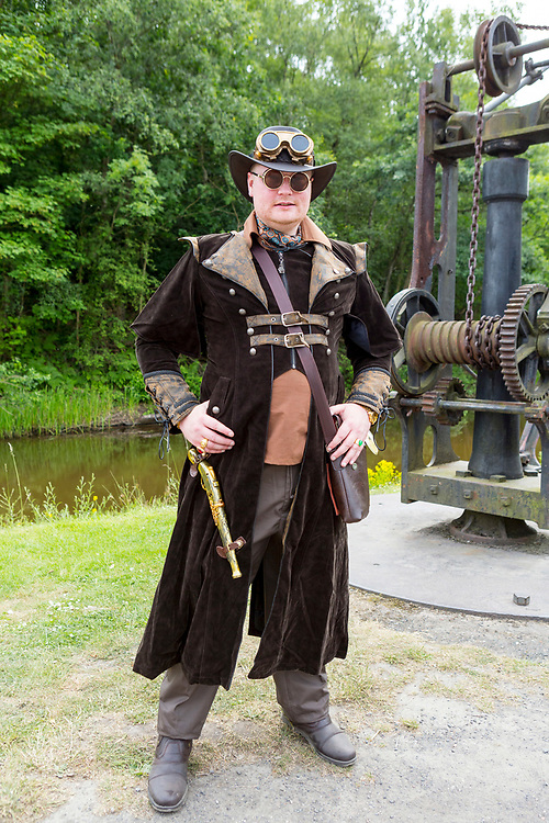 Ironbridge, United Kingdom. 23rd June 2018. Steampunk festival at Blists Hill Victorian Town, a recreation of a Victorian town and many of its industries during the 18th and 19th Centuries. in Ironbridge, United Kingdom. Credit: Christopher Griffiths/Alamy Live News.