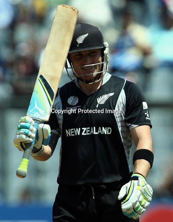 New Zealand batsman Brendon McCullum celebrates half century against Canada During the ICC Wolrd Cup-2011 Canada vs New Zealand match Played at Wankhede Stadium, Mumbai,