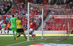 Britt Assombalonga of Nottingham Forest (R) scores his sides fourth goal - Mandatory by-line: Jack Phillips/JMP - 06/08/2016 - FOOTBALL - The City Ground - Nottingham, England - Nottingham Forest v Burton Albion - EFL Sky Bet Championship