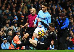 Ben Chilwell of Leicester City tackles Bernardo Silva of Manchester City - Mandatory by-line: Matt McNulty/JMP - 10/02/2018 - FOOTBALL - Etihad Stadium - Manchester, England - Manchester City v Leicester City - Premier League