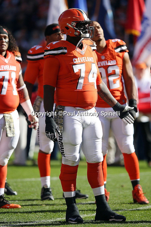 Cleveland Browns offensive tackle Cameron Erving (74) looks on during the 2015 week 8 regular season NFL football game against the Arizona Cardinals on Sunday, Nov. 1, 2015 in Cleveland. The Cardinals won the game 34-20. (©Paul Anthony Spinelli)