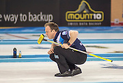 "Glasgow. SCOTLAND.  Scotland, ""Skip"" Tom BREWSTER, during a ""Round Robin"" Game. Le Gruyère European Curling Championships. 2016 Venue, Braehead  Scotland<br /> Tuesday  22/11/2016<br /> <br /> [Mandatory Credit; Peter Spurrier/Intersport-images]"