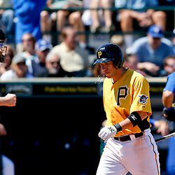 Mar 13, 2013; Bradenton, FL, USA; Pittsburgh Pirates shortstop Clint Barmes (12) reacts after striking out to end the bottom of the fourth inning of a spring training game against the Toronto Blue Jays at McKechnie Field. Mandatory Credit: Derick E. Hingle-USA TODAY Sports