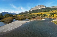 Saint Mary River and Singleshot Mountain in autumn, Glacier National Park Montana