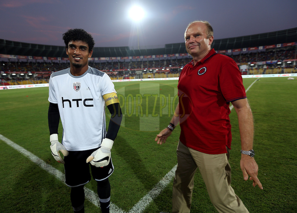 Rehenesh Thumbirumbu Paramba of NorthEast United FC receives Golden Glove arm band before the start of the match 46 of the Hero Indian Super League between FC Goa and North East United FC held at the Jawaharlal Nehru Stadium, Fatorda, India on the 1st December 2014.<br /> <br /> Photo by:  Sandeep Shetty/ ISL/ SPORTZPICS