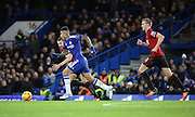 Chelsea attacker Kenedy driving forward during the Barclays Premier League match between Chelsea and West Bromwich Albion at Stamford Bridge, London, England on 13 January 2016. Photo by Matthew Redman.