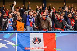 PSG fans cheer before kick off - Photo mandatory by-line: Rogan Thomson/JMP - 07966 386802 - 08/04/2014 - SPORT - FOOTBALL - Stamford Bridge, London - Chelsea v Paris Saint-Germain - UEFA Champions League Quarter-Final Second Leg.