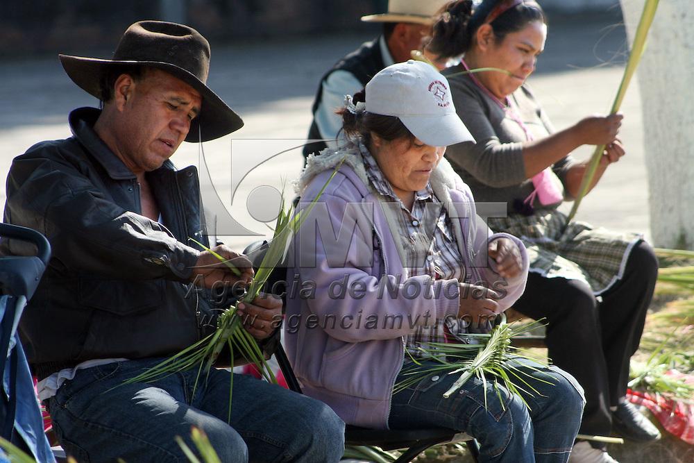 TOLUCA, Mexico.- Comerciantes de palmitas para el domingo de ramos, se instalaron en el parque 18 de marzo de esta ciudad, para vender sus productos ya que las autoridades no les permitieron colocarse en el mercado Juárez. Agencia MVT. José Hernández.  (DIGITAL)