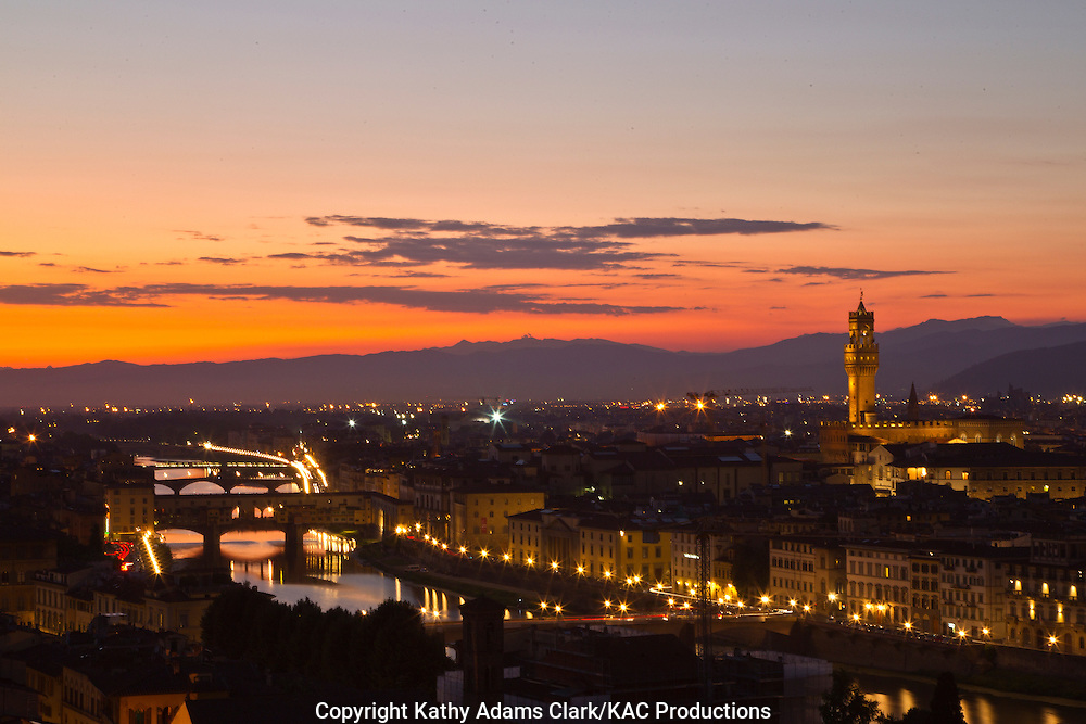 Florence at sunset, from  piazzale michelangelo, Firenza, Italy.