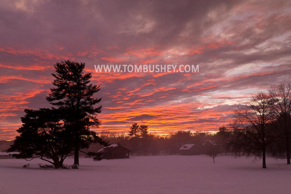 Middletown, New York - Winter sunset with fog on Feb. 21, 2014.