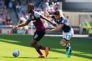 Aston Villa Josh Onomahn(18) takes on Millwall Ben Marshall (44)  during the EFL Sky Bet Championship match between Millwall and Aston Villa at The Den, London, England on 6 May 2018. Picture by Robin Pope.