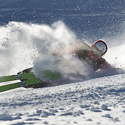 Erik Hughes, USA, crashes during the Freeski Slopestyle Men's Final at Snow Park, New Zealand during the Winter Games. Wanaka, New Zealand, 18th August 2011. Photo Tim Clayton