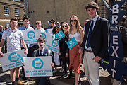 STUDENTS FROM ROYAL HOLLOWAY COLELGE, EGHAM, CAMPAIGN FOR BREXIT, Brexit party campaigning in Peterborough before the byelection caused by the jailing of the local MP for a lying about a speeding offense.  1 June 2019