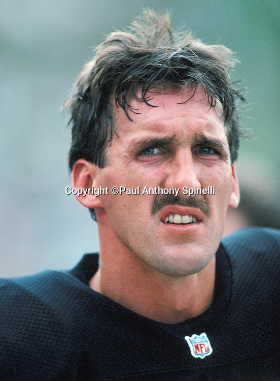 Los Angeles Raiders quarterback Jeff Hostetler (15) looks on from the sideline during the NFL Pro Football Hall of Fame football game against the Green Bay Packers on July 31, 1993 in Canton, Ohio. The Raiders won the game 19-3. (©Paul Anthony Spinelli)