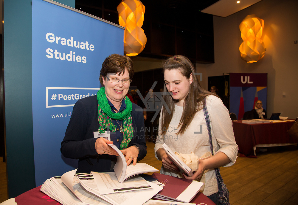 09.03.2017<br /> Pictured at the University of Limerick Post Grad Open Evening in the North Campus Pavilion were, Rose Moorhead, Graduate School and Michelle McDermot, Roscommon. Picture: Alan Place