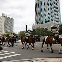 The mounted horse police unit patrols the streets during the Republican National Convention in Tampa, Fla. on Wednesday, August 29, 2012. (AP Photo/Alex Menendez)