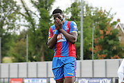 Bakary Sako can't believe he's put his penalty over during the U21 Professional Development League match between U21 Crystal Palace and U21 Bolton Wanderers at Selhurst Park, London, England on 17 August 2015. Photo by Michael Hulf.