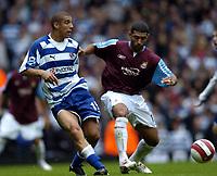 Photo: Olly Greenwood.<br />West Ham United v Reading. The Barclays Premiership. 01/10/2006. Reading's James Harper and West Ham's Hayden Mullins
