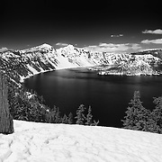 Wizard Island South Rim Overlook - Crater Lake - Black & White