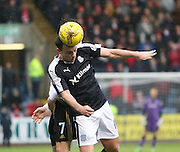 Dundee&rsquo;s Paul McGowan clears despite the challenge of Aberdeen&rsquo;s Kenny McLean - Dundee v Aberdeen, Ladbrokes Scottish Premiership at Dens Park<br /> <br />  - &copy; David Young - www.davidyoungphoto.co.uk - email: davidyoungphoto@gmail.com