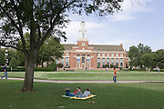 Scenes around the Campus of the Oklahoma State University in Stillwater, Oklahoma showing Student Union with Rainbow