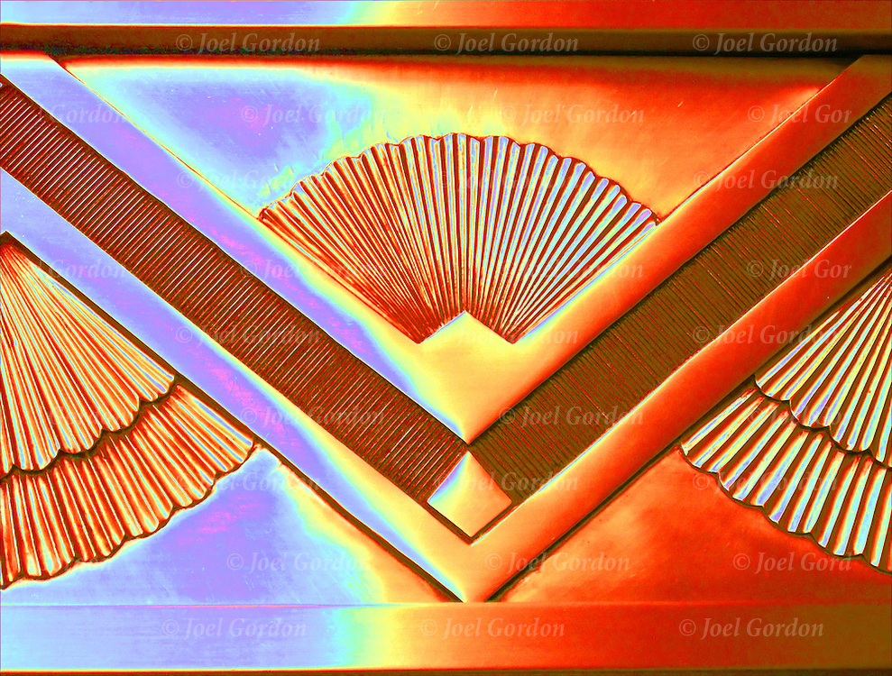 Close-up of bronze Art Deco architecture detail on building entrance in New York City