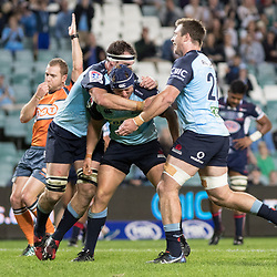 Damien Fitzpatrick scores a try for the Waratahs during the super rugby match between Waratahs and the Rebels Allianz Stadium 21 May 2017(Photo by Mario Facchini -Steve Haag Sports)
