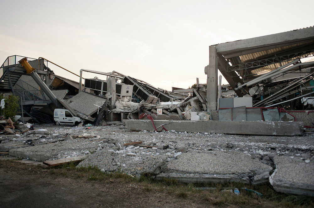 Italy, Medolla (MO). May 29th 2012 - Debris from the collapsed plant of Haemotronic, a company that produced medical disposable and other healtcare products.<br />