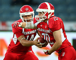 02.06.2014, UPC Arena, Graz, AUT, American Football Europameisterschaft 2014, Gruppe B, Daenemark (DEN) vs Frankreich (FRA), im Bild Kasper Skyum  Jensen, (Team Denmark, QB, #14) und  Marco Kleinnibbelink  Rysgaard, (Team Denmark, RB, #20) // during the American Football European Championship 2014 group B game between Denmark and France at the UPC Arena, Graz, Austria on 2014/06/02. EXPA Pictures © 2014, PhotoCredit: EXPA/ Thomas Haumer