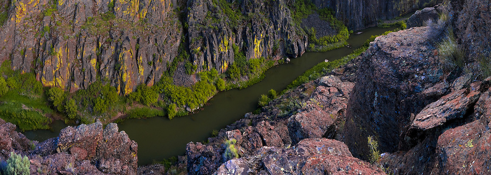 Battle Creek, one of the Owyhee Rivers major tributarys, flows through basalt canyons as it nears it's final destination at the East Fork of the Owyhee River.