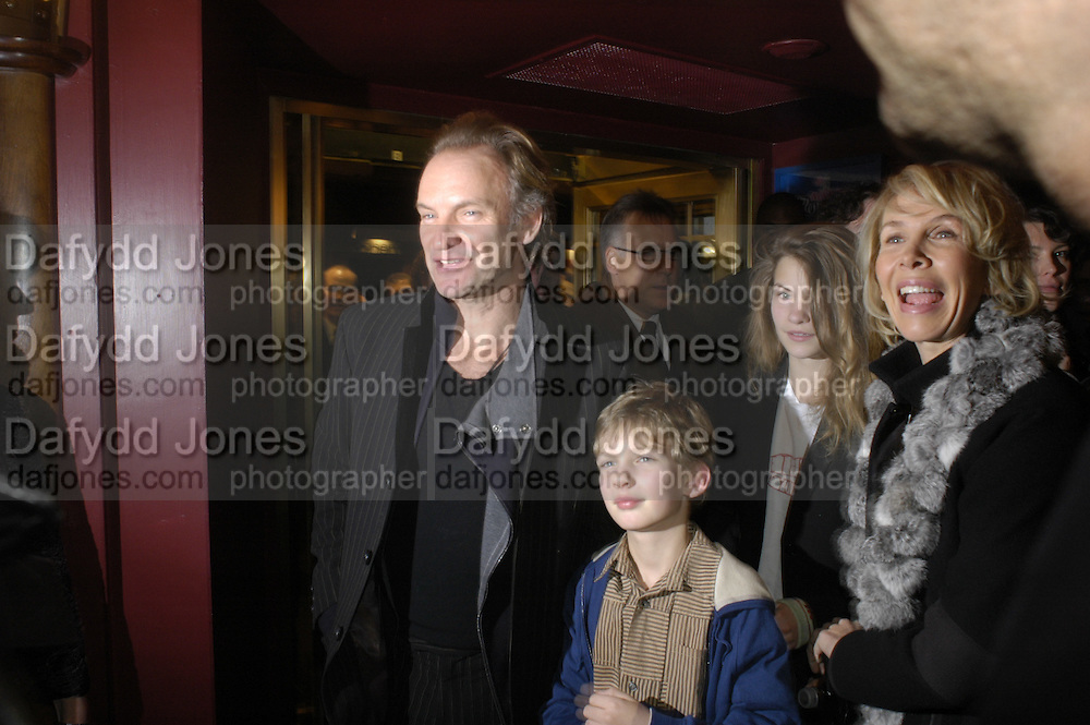 Sting,  son, Coco Sumner and Trudie Styler, Mary Poppins Gala charity night  in aid of Over the Wall. Prince Edward Theatre. 14 December 2004. ONE TIME USE ONLY - DO NOT ARCHIVE  © Copyright Photograph by Dafydd Jones 66 Stockwell Park Rd. London SW9 0DA Tel 020 7733 0108 www.dafjones.com