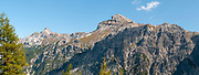 Rugged mountaintop cliffs on Mount Elfer, Stubaital, Tyrol, Austria