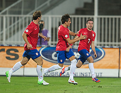 NOVI SAD, SERBIA - Tuesday, September 11, 2012: Serbia's Zoran Tosic celebrates scoring the second goal against Wales during the 2014 FIFA World Cup Brazil Qualifying Group A match at the Karadorde Stadium. (Pic by David Rawcliffe/Propaganda)