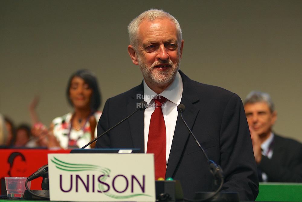 Jeremy Corbyn gives a speech at the Unison Conference  Jeremy Corbyn gives a speech at the Unison Conference Jeremy Corbyn at the Unison Conference.