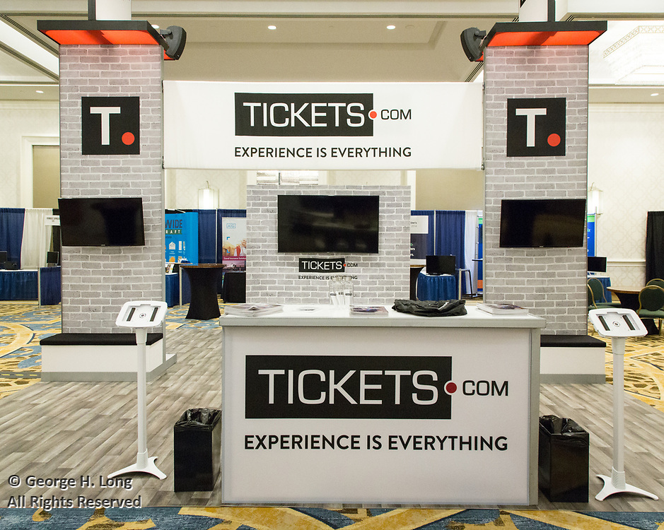 "Tickets.com trade show booth at INTIX 2017 in New Orleans; International Ticketing Association's 38th Annual Conference & Exhibition ""Billets on the Bayou"""