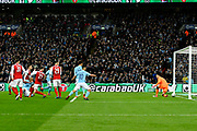 Goal - Vincent Kompany (4) of Manchester City scores a goal to give a 0-2 lead to the away team during the EFL Cup Final match between Arsenal and Manchester City at Wembley Stadium, London, England on 25 February 2018. Picture by Graham Hunt.