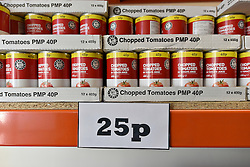 © Licensed to London News Pictures. 02/02/2016. London, UK. Chopped tomatoes on display at The new easyFoodstore budget Supermarket in Park Royal, north London which is selling a range of food products all at 25p each. The discount shop, which is owned by the EasyJet company, offers shoppers groceries ranging from pasta to beans to cleaning products. Fresh meat, fruit and vegetables are not yet available. Photo credit: Ray Tang/LNP