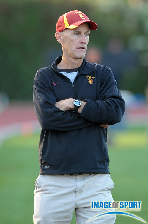 May 18, 2012; Los Angeles, CA, USA; Southern California Trojans womens distance coach Tom Walsh at the 2012 USATF High Performance meet at Occidental College.