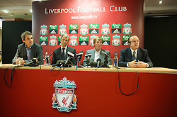 LIVERPOOL, ENGLAND - Thursday, April 30, 2009: Former Liverpool manager Kenny Dalglish and captain Alan Hansen (L) with Dr Lee Martin (Consultant Breast Surgeon) and Dr Brian Haylock (Clinical Director of Radio Therapy at Clatterbridge Hospital) at Anfield for the launch of the Hillsborough Memorial game. The match will be between a Liverpool FC legends side and a team off 'All Stars' at Anfield on May 14. (Photo by David Rawcliffe/Propaganda)