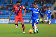 Paul Konchesky challenged by Nathaniel Mendez-Laing during the EFL Sky Bet League 1 match between Gillingham and Rochdale at the MEMS Priestfield Stadium, Gillingham, England on 26 November 2016. Photo by Daniel Youngs.