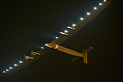 NANJING, CHINA - MAY 31: (CHINA OUT) <br /> <br /> The Swiss-made solar-powered plane Solar Impulse 2 takes off from Nanjing Lukou International Airport on May 31, 2015 in Nanjing, Jiangsu Province of China. The plane left China for Hawaii on Sunday morning. <br /> ©Exclusivepix Media