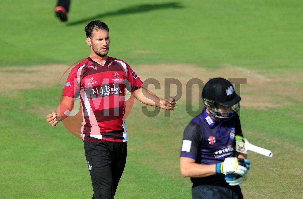 Lewis Gregory of Somerset celebrates as Peter Handscomb of Gloucestershire is caught by Michael Bates of Somerset for 0 - Photo mandatory by-line: Dougie Allward/JMP - Mobile: 07966 386802 - 19/06/2015 - SPORT - Cricket - Bristol - County Ground - Gloucestershire v Somerset - Natwest T20 Blast