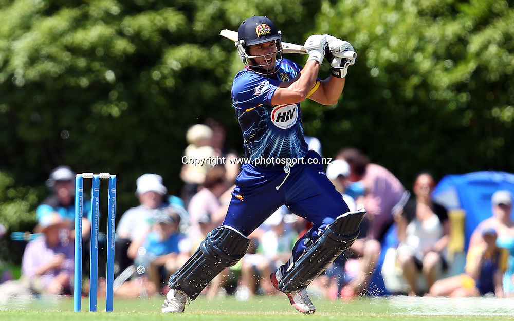 Ryan ten Doeschate of the Volts lashes out on his way to an unbeaten 60.<br /> Twenty20 Cricket - HRV Cup, SBS Bank Otago Volts v Hell Wellington Firebirds, 23 December 2012, University Oval, Dunedin, New Zealand.<br /> Photo: Rob Jefferies / photosport.co.nz