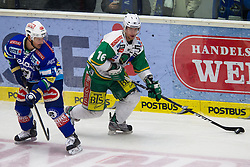 20.11.2012, Eishalle Villach, Ljubljana, AUT, EBEL, EC VSV vs HDD Telemach Olimpija Ljubljana, 23. Runde, in picture Ales Music (HDD Telemach Olimpija, #16) and Gerhard Unterluggauer (EC VSV, #6) during the Erste Bank Icehockey League 23rd Round match between EC VSV and HDD Telemach Olimpija Ljubljana at the Eishalle Villach, Villach, Austria on 2012/11/20. (Photo By Matic Klansek Velej / Sportida)
