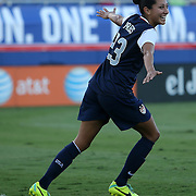 U.S. forward Christen Press (23) celebrates a goal during an international friendly soccer match between the United States Women's National soccer team and the Russia National soccer team at FAU Stadium on Saturday, February 8, in Boca Raton, Florida. The U.S. won the match by a score of 7-0. (AP Photo/Alex Menendez)
