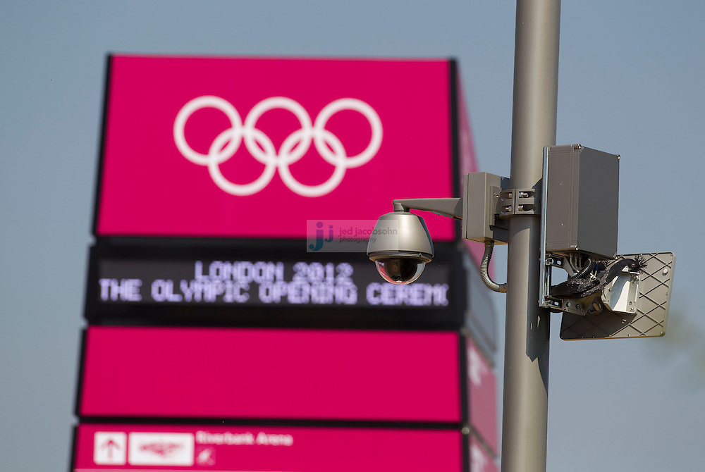 A security camera is seen in the Olympic Park on July 26, 2012 in London, England. (Jed Jacobsohn/for The New York Times)....